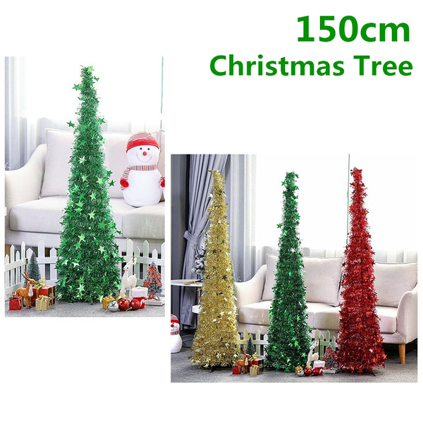 Collapsible Christmas Tree.New150cm Tinsel Christmas Tree Stand Collapsible Pull Up Indoor Outdoor Party Decor