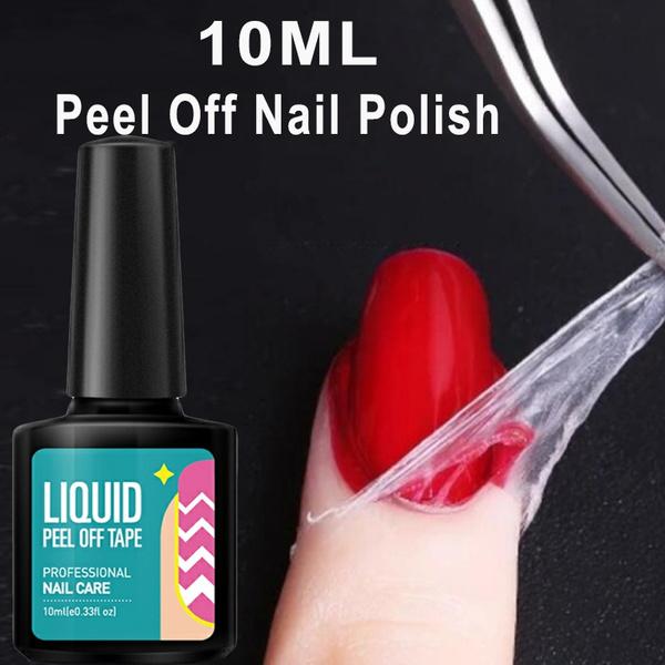 10ml Peel Off Nail Polish Liquid Tape Nail Care Tool Curved Tweezer