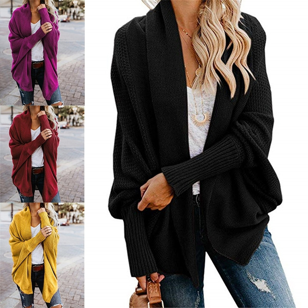 Womens Kimono Batwing Cable Knitted Slouchy Oversized Wrap Cardigan Sweater by Wish