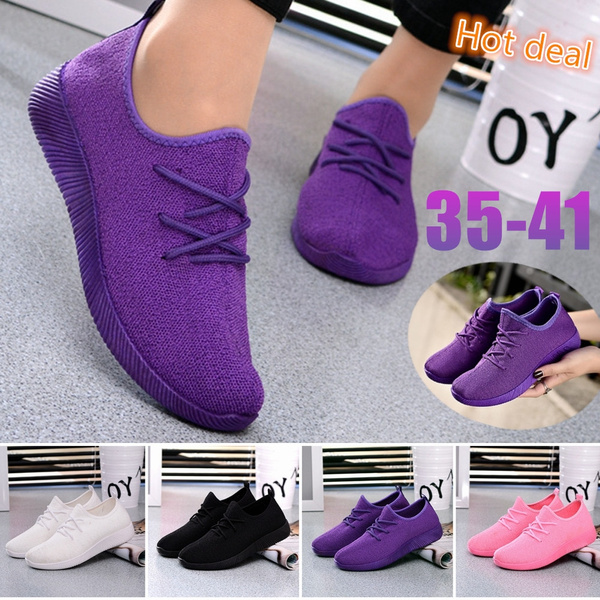 Autumn New Women's Mesh Shoes Sports Casual Light Shoes Flat Flying Woven Running Breathable Shoes for Women