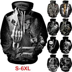 Hip-hop Style, 3D hoodies, Poker, Plus Size