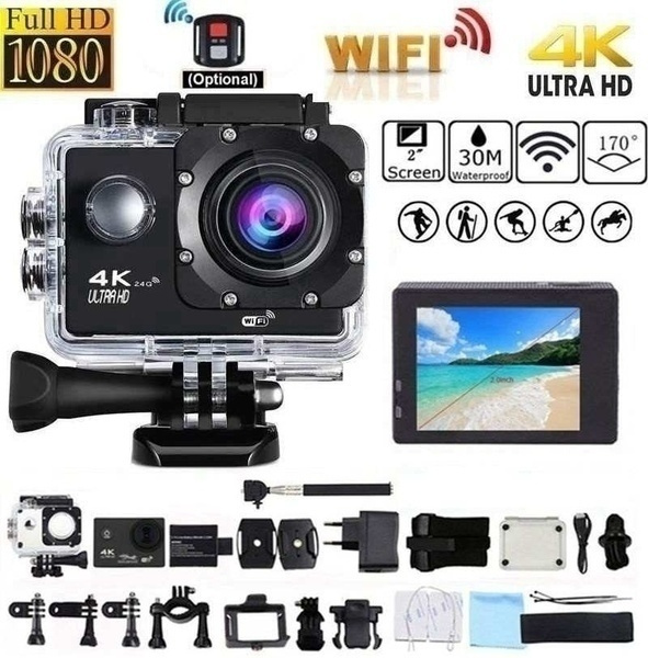 2019 Hot Sale Outdoor Sports Action Camera 4 K 1080 P Wifi 30 M Waterproof 170 Degree Wide Angle Lens Extreme Sports Photography Dv Sports Cam Camcorder For Surfing Parachuting Diving Skiing Cycling Hiking by Wish