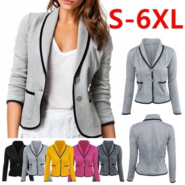 Women Business OL Blazer Jacket Coat Suit Long Sleeve Tops Slim Outwear S-6XL