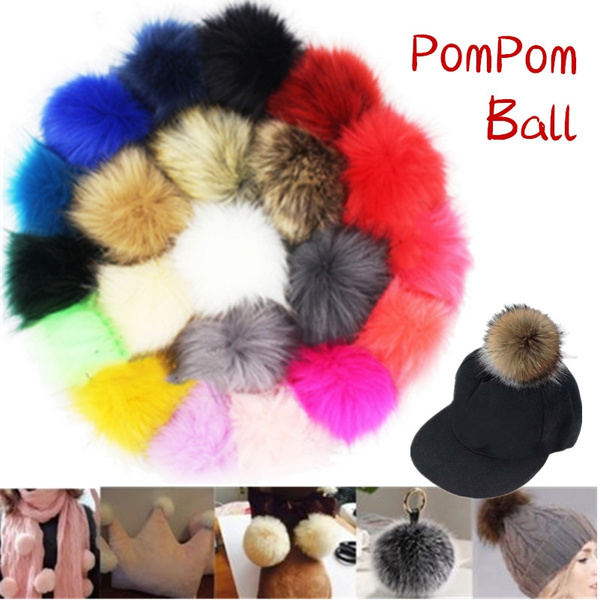 DIY 10cm Large Faux Raccoon Fur Pom Pom Ball with Press Button for Knitting Hat