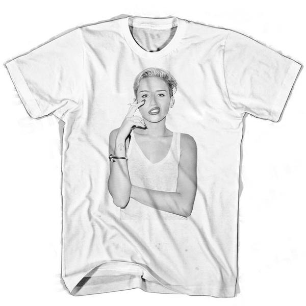 Miley Cyrus Smoke Mens Graphic Printed T Shirt Cotton Short Sleeve Tops Unisex Tshirt