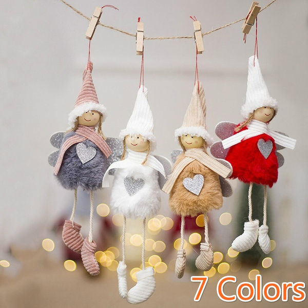 Christmas Tree Ornament Plush Angel Doll Pendant Hanging Decor Kids Xmas Gift