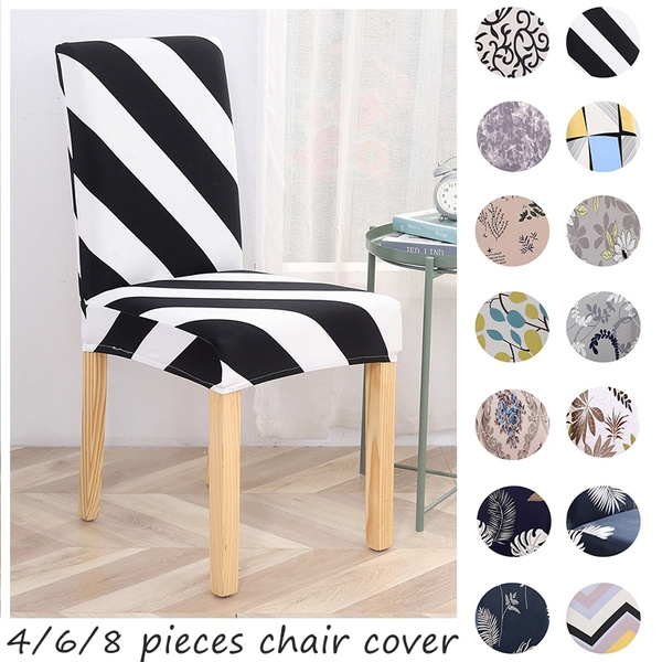 Forcheer Chair Covers Printing Chair Cover Stretch Elastic Chair Slipcovers Restaurant For Party Banquet Folding Living Room Housse De Chaise 4 6 8pcs