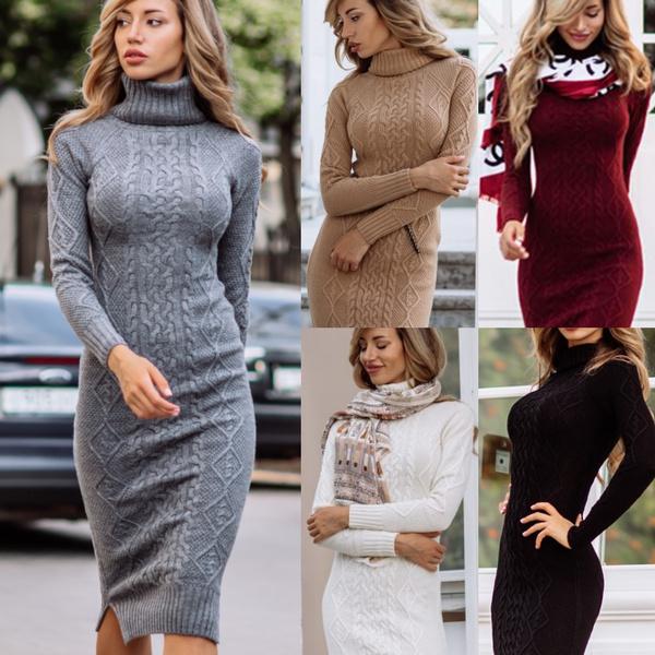 Women Slim Fall Winter Bodycon Turtleneck Knitted Sweater Dress Jumper Knitwear