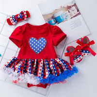 ❤️ Mealeaf ❤️ Baby Girls Letter Tops Tulle Sequin Skirt Hairband Leg Warmer Outfit 4th of July(Red,80)