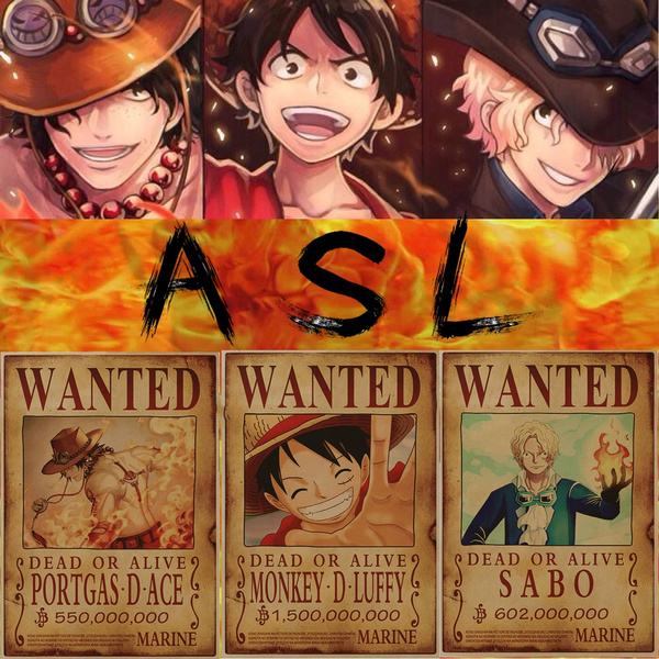 One Piece Wanted Poster Luffy Ace Sabo Wanted Posterand Send The Zoro As Gift5035cm