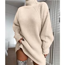Plus Size, Long Sleeve, Dress, highcollar
