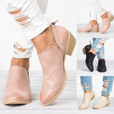 casual shoes, ankle boots, Plus Size, thickheel