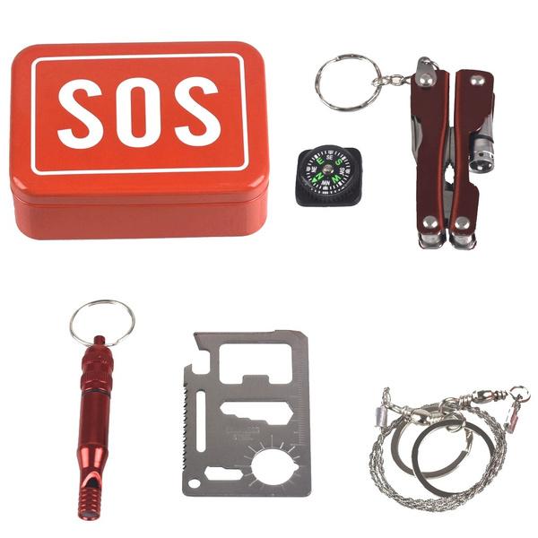 SOS Outdoor Camping Hiking Survival Emergency Kit Self-help Box Equipment