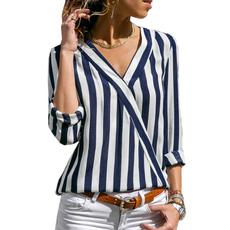Deep V-Neck, blouse, Plus Size, Shirt