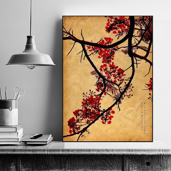 Japanese Cherry Blossoms Canvas Painting Vintage Japanese Wall Art Mural  Home Decor Oriental Culture Calligraphy Pianting Wall Poster for Living  Room