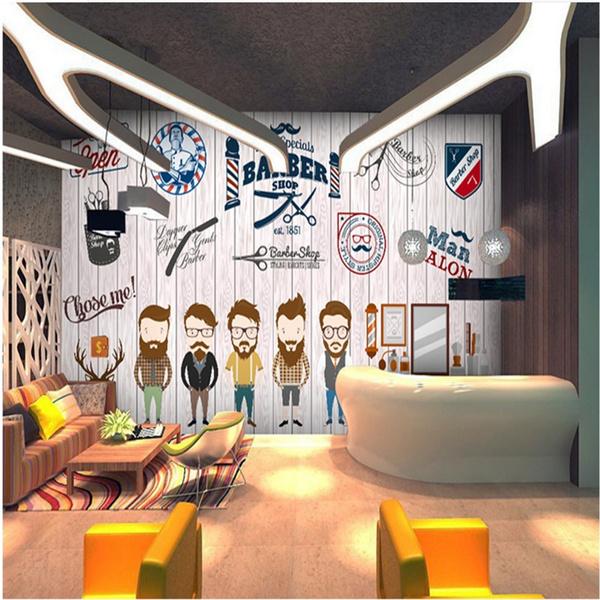 Custom Man Salon Wall Paper 3d Retro Barber Shop Hair Salon Background Mural Wallpaper 3d Industrial Decor Papel De Parede 3d Wish