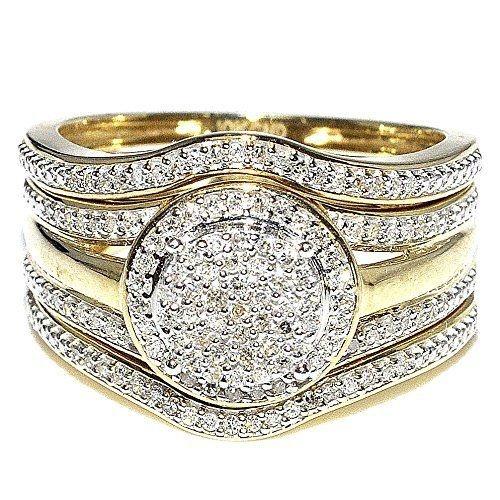 3pcs Set Women S 14k Yellow Gold Diamond Ring Anniversary Gift