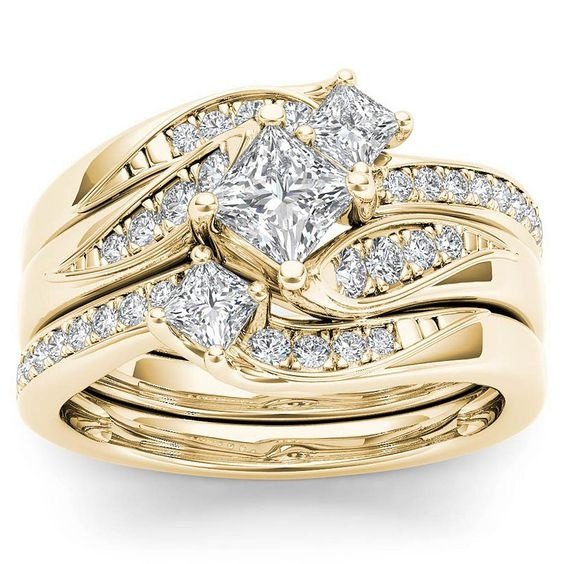 Engagement Wedding Ring Set, Bridal, gold, crystaljewelryset
