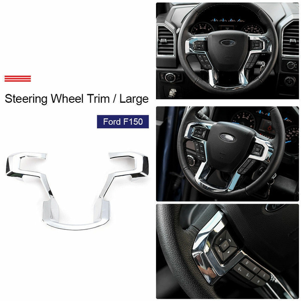 Chrome Steering Wheel Moulding Trims Cover Accessories For 2015-2017 Ford F150