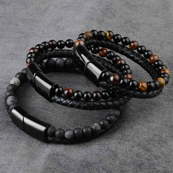 Men Jewelry Natural Stone Genuine Leather Bracelet Black Stainless Steel Magnetic Clasp Tiger Eye Bead Bracelet Men by Wish