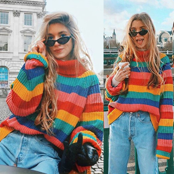 Oversized Autumn Women Turtleneck Vintage Rainbow Sweater Loose Long Sleeved Tops Knitted Sweaters Pullovers
