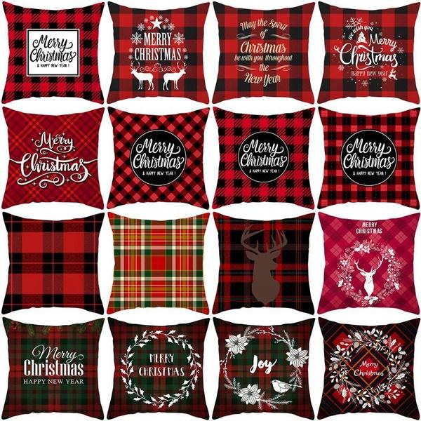 christmaspillowcase, sofadecorative, Decor, plaid
