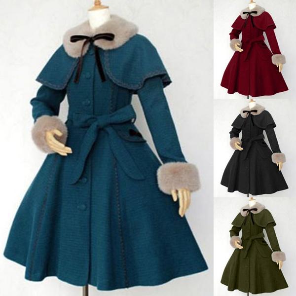Women Vintage Victorian Fur Collar Warm Trench Coat Jacket Winter Medieval Steampunk Lolita Coat Outwear by Wish