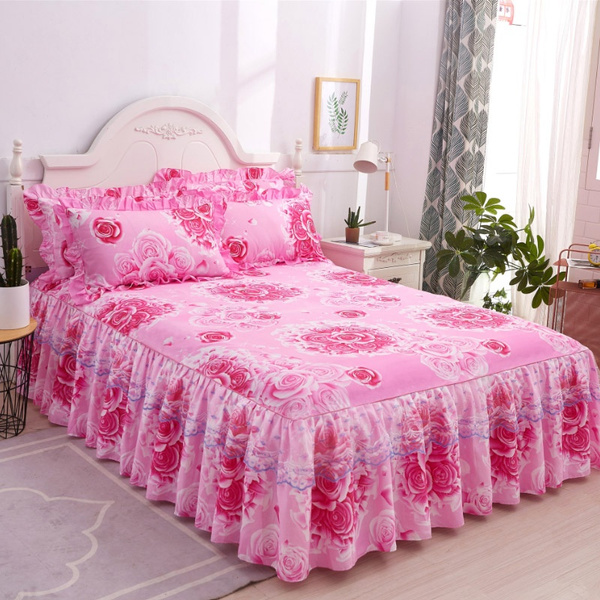 3 Sided Dust Ruffle Bed Skirt With Lace Drop Fl Soft Pillowcases Set 4 Colors 5 Sizes Wrap 16 Inches