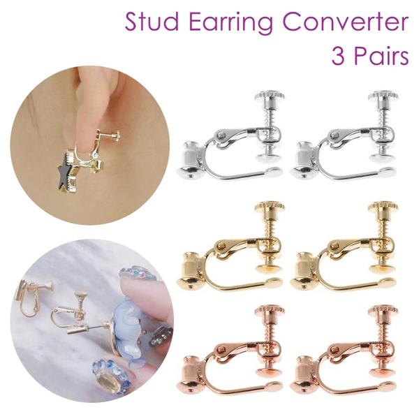 100 x Clip on Converter Earrings Silver 50 pair Convert Pierced Clip Earrings