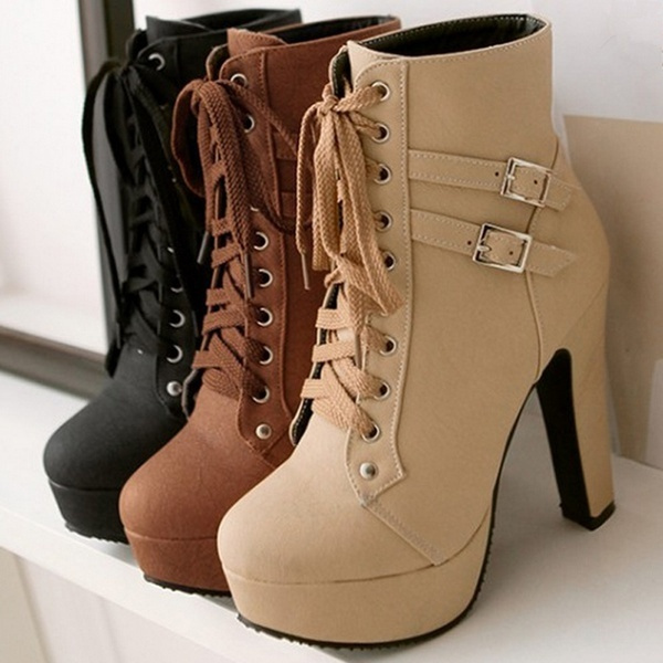 shoes, high heels, army boots, ankle boots, brown high heels