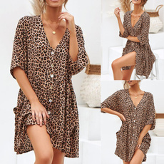 Fashion, high waist, leopard print, Dress