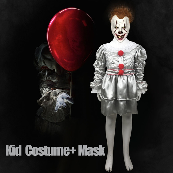 Kids Joker Pennywise Cosplay Costume Mask Horror Clown Halloween Kid Party  Costumes Props 2019