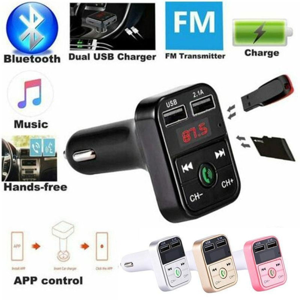 Wireless Bluetooth Car Charger For Handsfree FM Transmitter MP3 Player Accessory