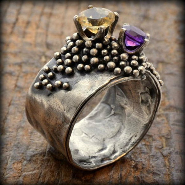 Antique Women Silver Citrine Ring Amethyst Gemstone Wedding Jewelry 2019