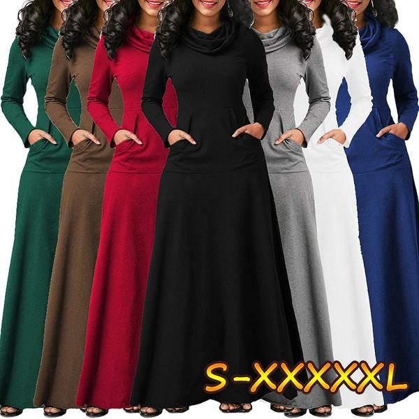 Plus Size, Cotton, long sleeve dress, long dress