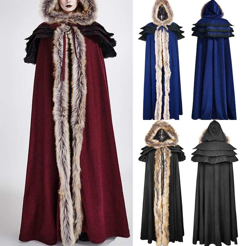 Gothic Hooded Unisex Cloak Wicca Robe Medieval Witchcraft Cape Halloween Show