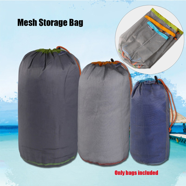 Outdoor Hiking Ultra-light Mesh Stuff Sack Camping Sports Drawstring Storage Bag