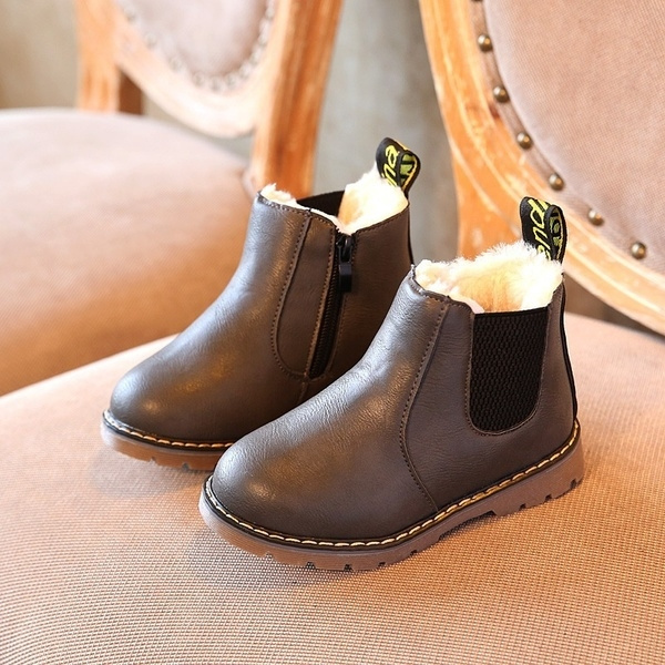 New Boys Girls Kids Leather Waterproof Chelsea Ankle Boots Toddler Martin Shoes