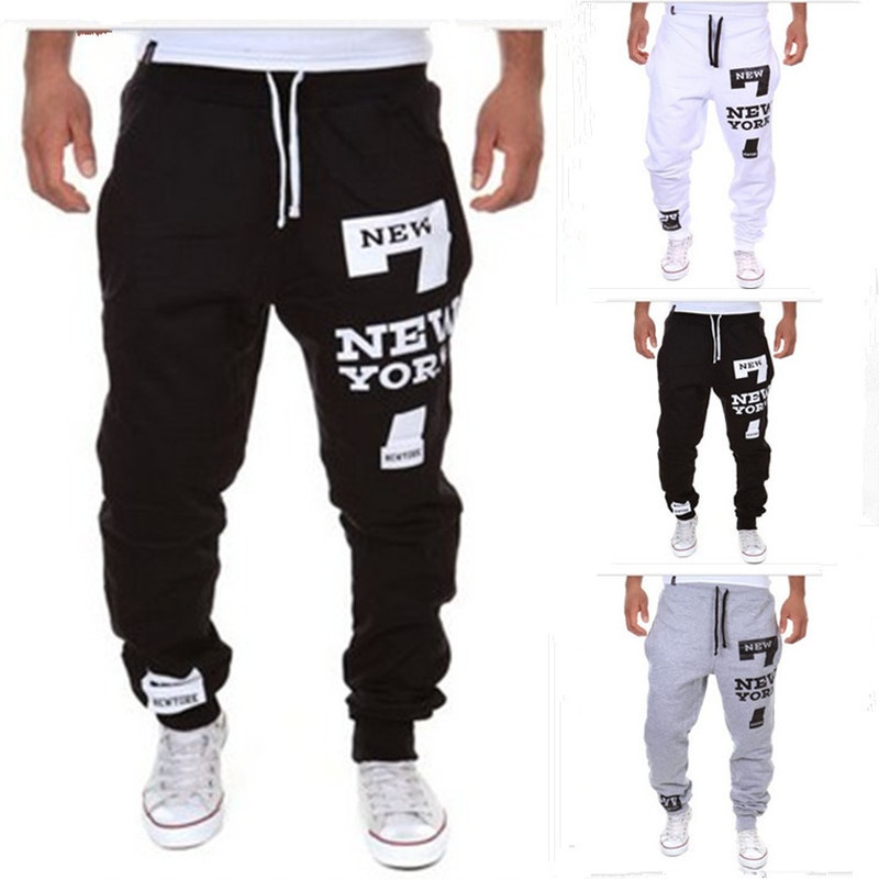 Men's casual sweatpants, digital letter printed sweatpants