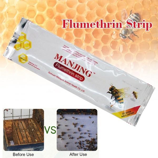 20 Strips Manjing Wangshi Flumethrin Strip Varroa Mite Killer Beekeeping Tool BE