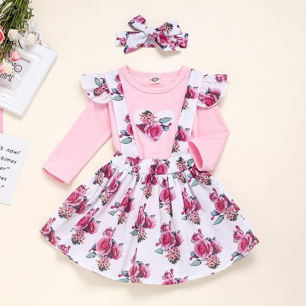 3Pcs Newborn Kids Baby Girls Floral Tops T-shirt Suspender Skirt Dress Outfits