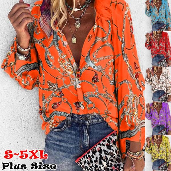 Plus size top, Chain, Women Blouse, Long Sleeve