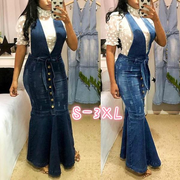 Women\'s Ruffle Hem Strap Skinny Denim Maxi Dresses Washed Jeans Long Pencil  Dress Mermaid Skirt Plus Size
