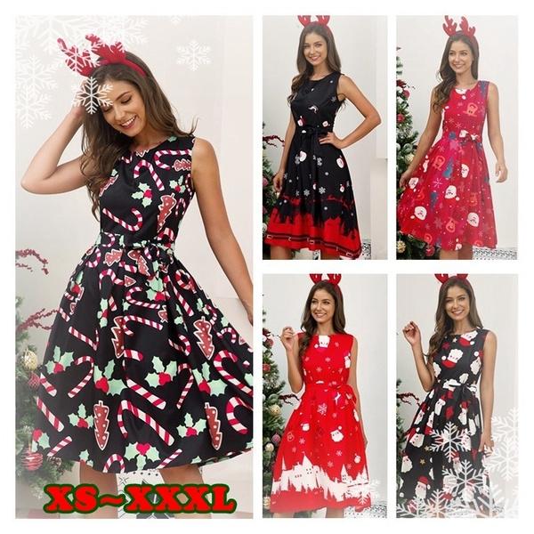 NEW Women Sleeveless Christmas Dress Fashion Casual Halloween Printed  Pleated Xmas Dresses Plus Size