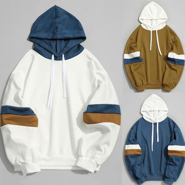 New Hooded Shirt Sweatshirt Brand Mens Casual Patchwork Stitching Parallel Bars Slim