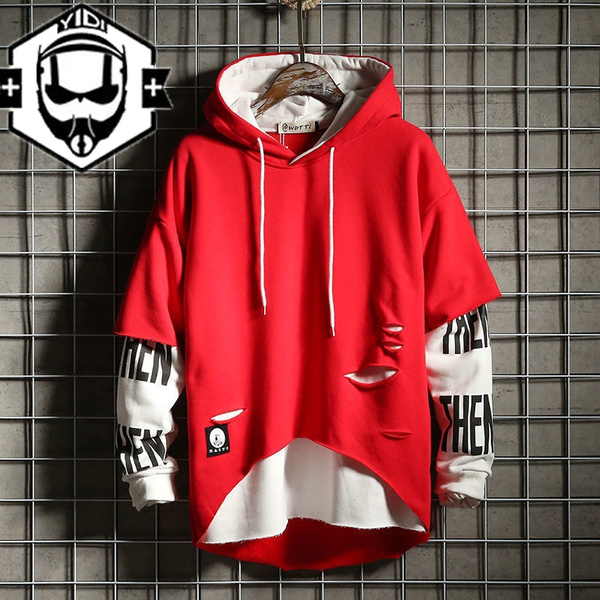 New Hip Hop 2020.2020 New Mens Boys Fashion Hooded Jerseys Long Sleeve Contrast Color Hip Hop Sweatshirt Hoodies Patchwork Pullover