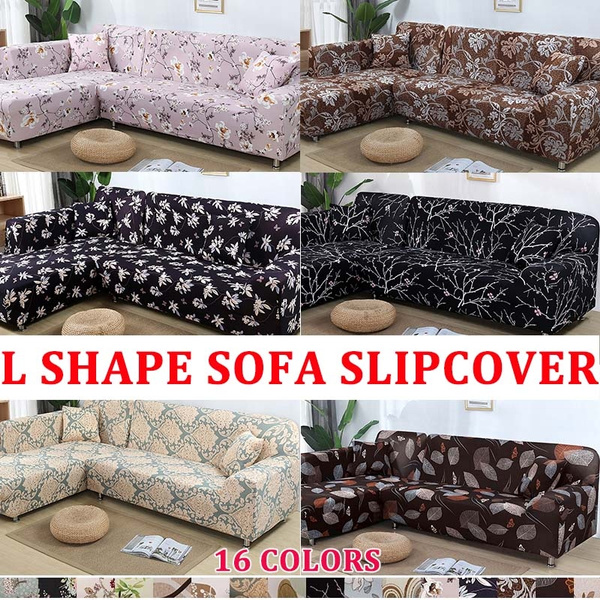 Universal 2PCS Covers For L Shape Sofa Colorful Recliner Sofa Covers  Stretch Slipcovers Sofa Decor 16 Colors