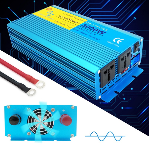 6000w Peak Lcd Led Digital Display Pure Sine Wave Power Inverter Dc 12v 24v To Ac 110v 220v Camping Boat Converter With Lcd Display 2 Ac Out