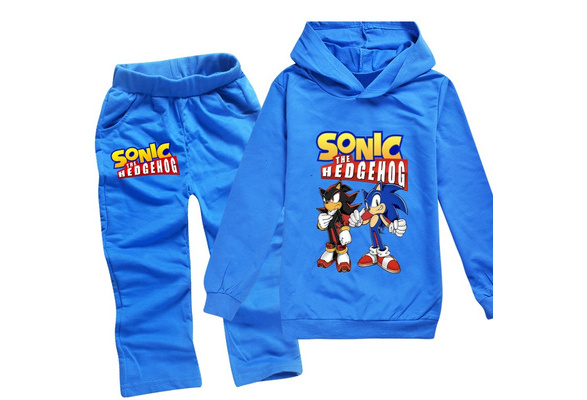 Pure Cotton Sonic The Hedgehog Cartoon Printed Children Boys Girls Pullover Hoodies And Cotton Long Pants 9 Color Wish