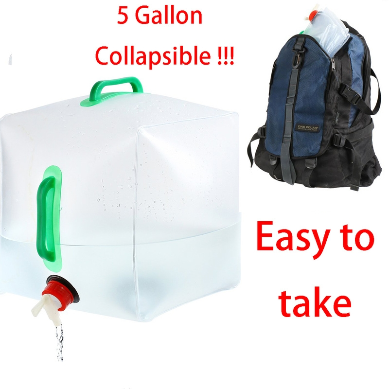 5 Gallon Collapsible Water Container, Portable Water Storage Carrier Bag, Emergency Water Storage Carrier Jug for Outdoors Hiking Backpack & Survival Kit